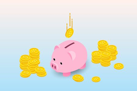 Isometric design of piggy bank with coins and falling coin. The money collecting concept, deposit for future investment in financial institution.