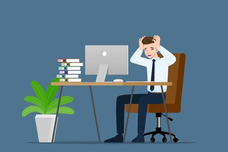 Businessman with a gestures facepalm emotion. Office people had a headache, disappointment or shame from work. Vector illustration concept design. Illusztráció