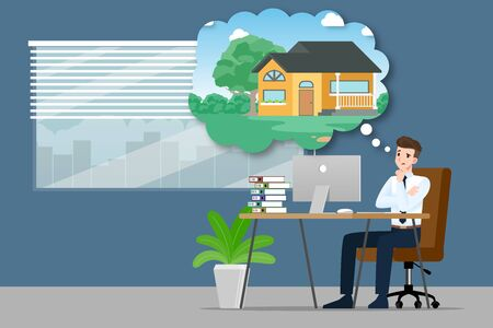 Businessman thinking or dreaming about buying a new beautiful modern house. An employee have a goal to own a personal property and work for success. Vector illustration design.