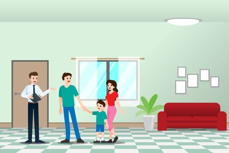 The realtor shows and presenting the new beautiful modern residence for sale to client with family. Vector illustration in flat design.