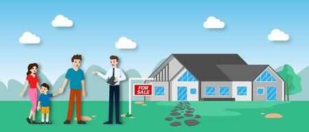 The realtor shows and presenting the new beautiful modern Real Estate for sale to client with family. Vector illustration in flat design. Ilustrace