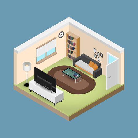 Konzeptraumisometrie 3D-Komposition mit einem Sofa und einem großen Breitbildfernseher, einem Wohnzimmer mit vielen Möbeln, einem Fenster und einer Tür mit offenem Vektordesign.