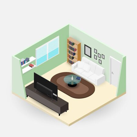 Concept room isometrics 3d composition with a sofa and a large wide screen TV, a living room with many furnitures, a window and door open vector modern design.