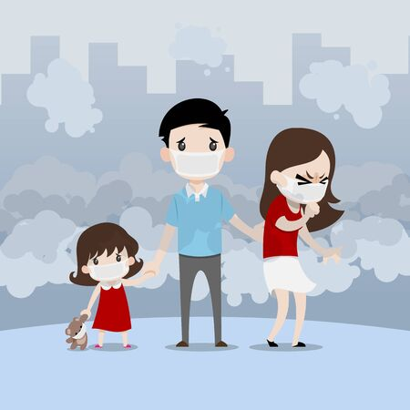 A family that comprised of parents, father, mother, daughter and bear doll stand and wearing a dust protect mask that is harmful to health in the full of pollution city. Ilustrace