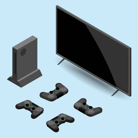 Video game console and controller connect with 4 players with smart tv isolated isometric vector illustration. Large screen television with video game console, joystick connected via wifi internet.