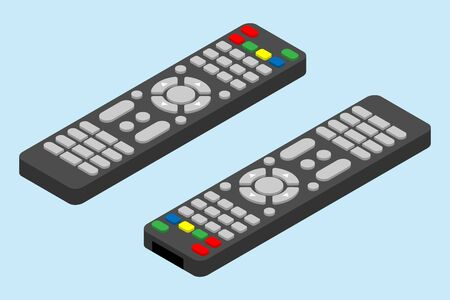 Modern television remote control icon. Isometric angle of tv remote control vector icon for web design isolated on light-blue background.
