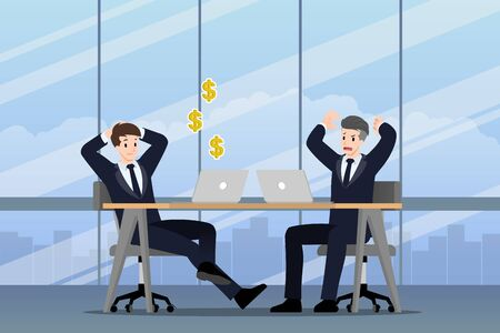 Businessman working in different emotion. Two businessmen have contrast situation in of work one can make money profit but the other one is very confused and busy. Illustration vector design.