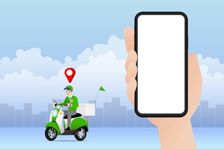 Delivery man going to deliver parcel, food, product to customer by app on blank screen smartphone tracking on a moped with a ready meal, technology and logistics concept with city in the background.