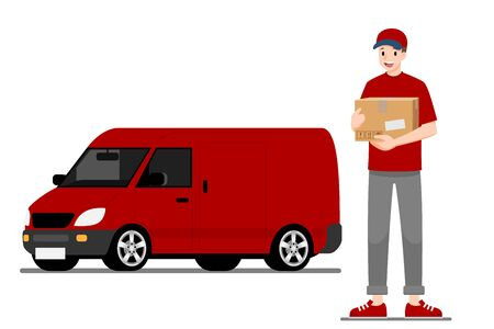 Delivery man stand and holding a goods parcel in front of a delivery van and ready for going to fast express deliver food, product to customer with city in the background.