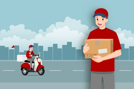 Delivery man stand and holding a goods parcel in front of a delivery motorbike that going to fast express, deliver food or product to customer with city in the background.
