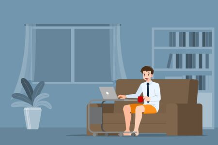 Young business man is sitting and working with laptop on the sofa at home. Online job in social for safety and to protect him from corona virus. Vector illustration flat design. Ilustração