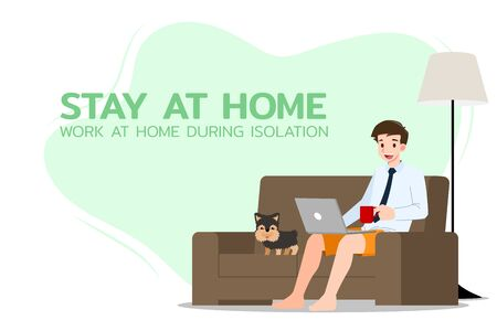 Young business man is sitting and working with laptop on the sofa at home with his dog. Online job in social for safety and to protect him from Corona virus. Vector illustration flat design.