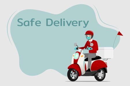 Delivery man wear a mask and glove, going to deliver parcel, food, product to customer on a motor bike with a ready meal, technology and logistics concept. Vector illustration character flat design.