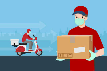 Safe at home delivery during coronavirus covid-19 crisis epidemic. A delivery man who wear mask and gloves delivering a parcel to customer by motorbike. Ilustración de vector