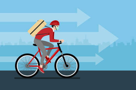 A delivery man who get an order from smart phone, delivering a parcel to customer by bicycle and the city in the background. Stay safe at home delivery during coronavirus covid-19 crisis concept.