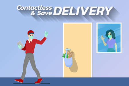 Safe at home delivery during coronavirus covid-19 crisis epidemic. A Man who wear mask and gloves delivering a product or goods to a woman customer and leaving them at a safe distance place. Illusztráció