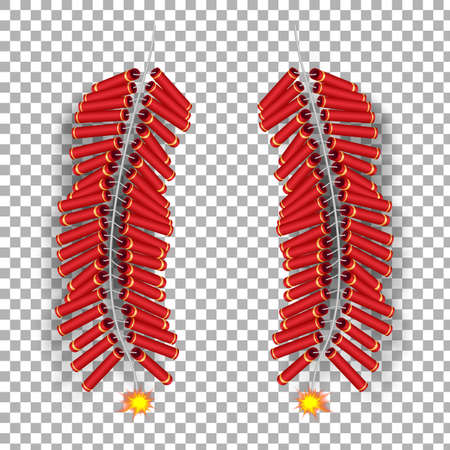 Realistic 3d Chinese burning fire cracker template. The Chinese holiday symbol culture isolated on transparent background. Vector illustration design. Ilustración de vector