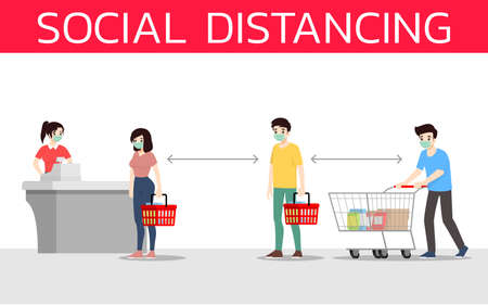 Social distancing to prevent coronavirus or covid-19. The prevention and maintain to safe distance from the other people at the supermarket. Customers protection rule vector illustration flat design.