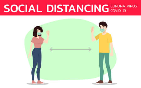 Social distancing to prevent coronavirus or covid-19. The prevention and maintain to wear face mask and safe distance from the other people. Virus protection rule. Ilustracja