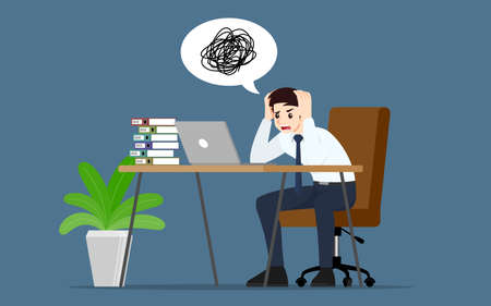 Businessman with a gestures facepalm emotion. Office people had a headache, disappointment or shame from work. Vector illustration concept design. 일러스트