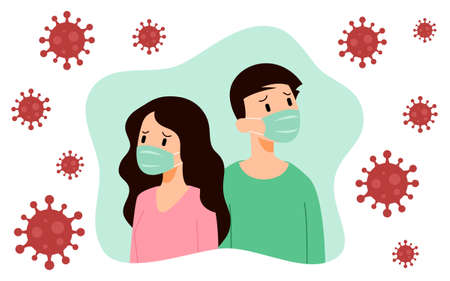 Man & Woman wearing medical face protection masks. Depressed people prevent disease, flu, pollution, contaminated air, virus spread. Concept of coronavirus or Covid-19 quarantine vector illustration.