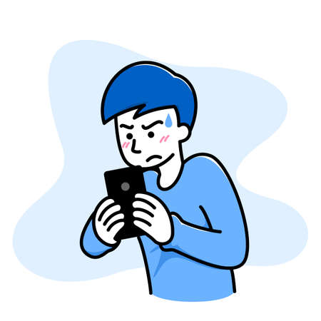 Man feel confused, angry, bad when he play a game on his cellphone, mobile phone, smartphone. Anger people use electronic gadget concept. Vector illustration blue mono-tone color flat design.