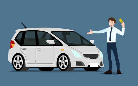 A happy businessman, salesman is standing and present his vehicles for sell or rent that parked in the shop. Business people or car dealer, show his new car in show room. Vector illustration design. 矢量图像