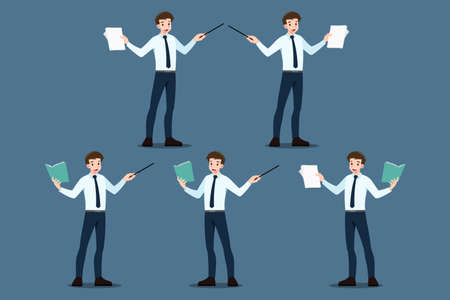 Set of businessman pose as pointing to educate, presentation, meeting, conference, mentor, coach on seminar, annual report training concept. Business company briefing and discussion analysis.