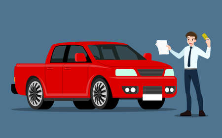 A happy businessman, salesman is standing and present his vehicles for sell or rent that parked in the shop with document. Business people or car dealer, show his new pick-up truck in show room.