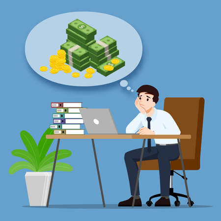 Businessman thinking or dreaming about money profit income & want to be rich. An employee have a goal to successful & richest. Vector illustration design.
