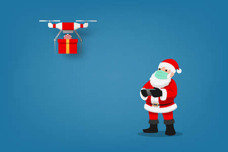 COVID-19 infographic of cute Christmas character, Santa Claus wear surgical mask controlling the drone to send a present gift for children and keep social physical distance. Corona virus protection. Ilustrace