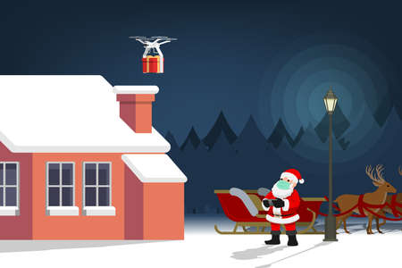 COVID-19 infographic of cute Christmas character, Santa Claus wear surgical mask controlling the drone to send a present gift for children and keep social physical distance. Corona virus protection. Ilustração