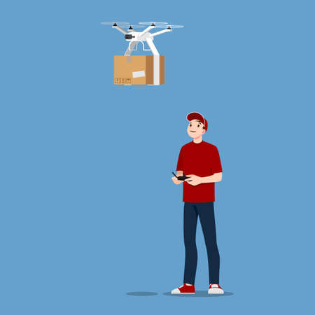 Young handsome delivery man character controlling a drone with wireless remote to deliver parcel box to customer. The product distribution by using technology device concept. Vector flat illustration.