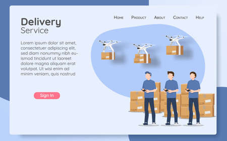 Online delivery service web page concept, online order by modern technology. The parcel box flying drone transporter control by delivery man, logistic home tracking delivery in new normal theme.