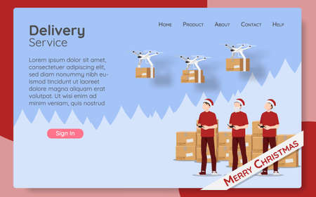 Online delivery service web page concept, online order by modern technology. The parcel box flying drone transporter control by employee, logistic home tracking delivery in new normal christmas theme. Ilustração