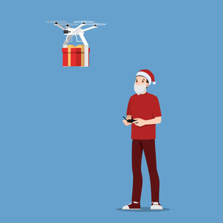 Santa Claus Holding remote control move drone copter delivery Christmas present gift to home. Element for web page, banner, poster, billboard, booklet for Merry Christmas season.