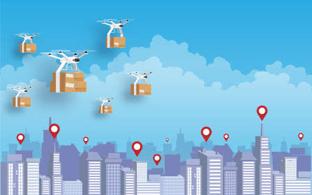 Delivery quadcopter carrying package against city background. Fast and convenient transportation logistic modern technology in new normal concept. Vector illustration Flat design.