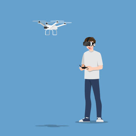 Young handsome man character wear vr glasses controlling a drone multi-copter with camera by wireless remote. The new modern technology device concept.
