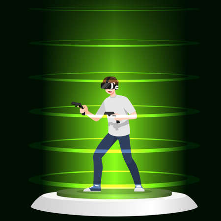 Young handsome man character wear vr glasses playing game by wireless game remote controller. The new modern technology device concept.