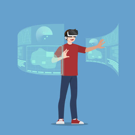 Young handsome man character who wear vr glasses, playing an online game by connect on internet. The new modern technology device concept.
