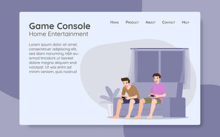 Young handsome men character, playing an console online game by connect the internet on large flat screen television in the living room with friends. The new modern technology device concept.