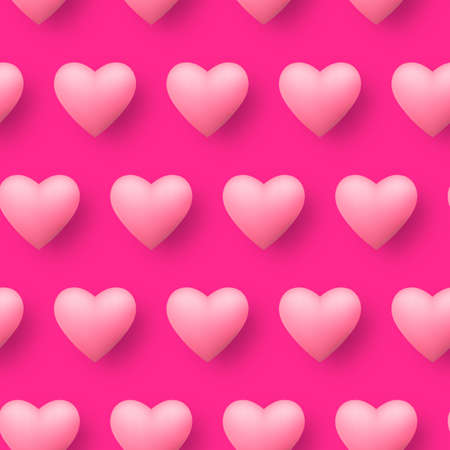 Seamless pattern pink heart continuously on pink vector background. Repeating hearts texture for gift or screen background of love season. Ilustração