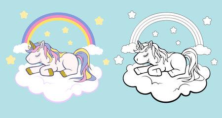 White Unicorn vector icon for children design isolated. Portrait white horse with rainbow hair. Cute magic cartoon fantasy animal. Animal in dream fantasy concept. Ilustração