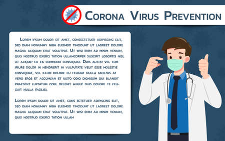 Doctor wear protection surgery mask against the virus. The fight against coronavirus infographic banner. Virus Covid 19-NCP Protection poster.