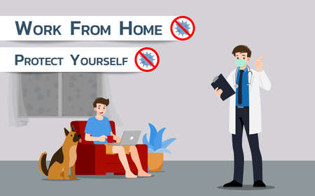 The doctor advises that work at home can avoid Corona virus or Covid-19 infection. The protection of virus exposure from outside with working man sit on sofa with laptop and a dog on the background.