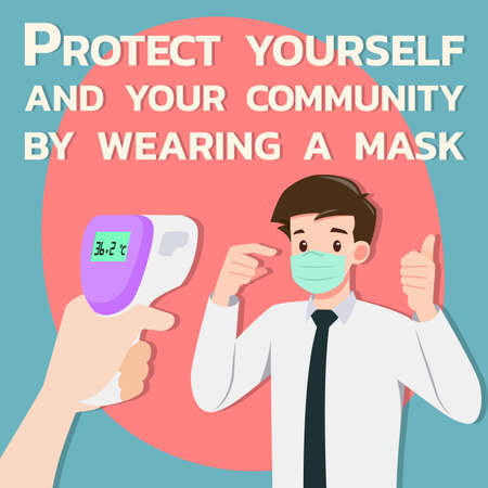 A hand holding digital infrared thermometer checking body temperatures to prove that a businessman who wear mask were safe in the public. Social distancing to safe people from coronavirus, covid-19.