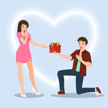 A man kneeling to give a present gift to women. The designed in romantic concept of people giving love to each other for the festival of love such as Valentine's Day.