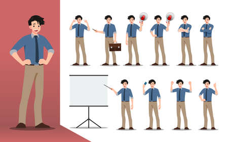 Flat design concept of Businessman with different poses, working and presenting process gestures, actions and poses. Vector cartoon character design set.
