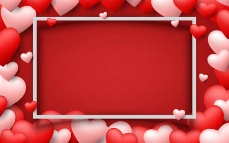 Beautiful hearts floating around a white frame of Valentine's Day on dark red background. Love theme wedding greeting card for happy festival celebration vector illustration.