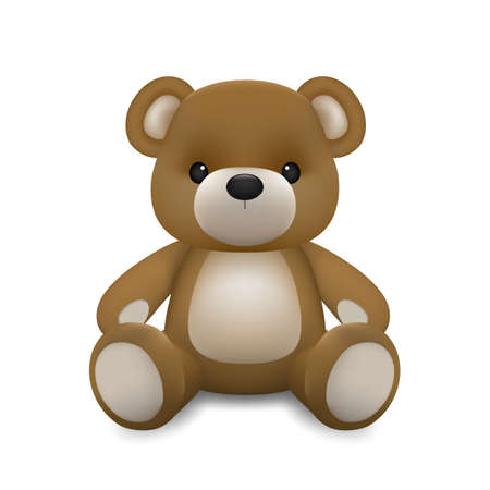 Realistic little cute baby bear doll character sitting on the ground isolated on white background. An animal bear cartoon relaxing gesture. Vector illustration design. Ilustração